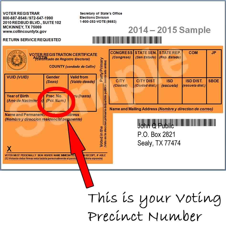 Example Voter Registration Card